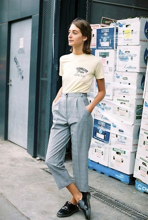 high-water pants plaid slacks oxfords tee | Girlfriend is Better