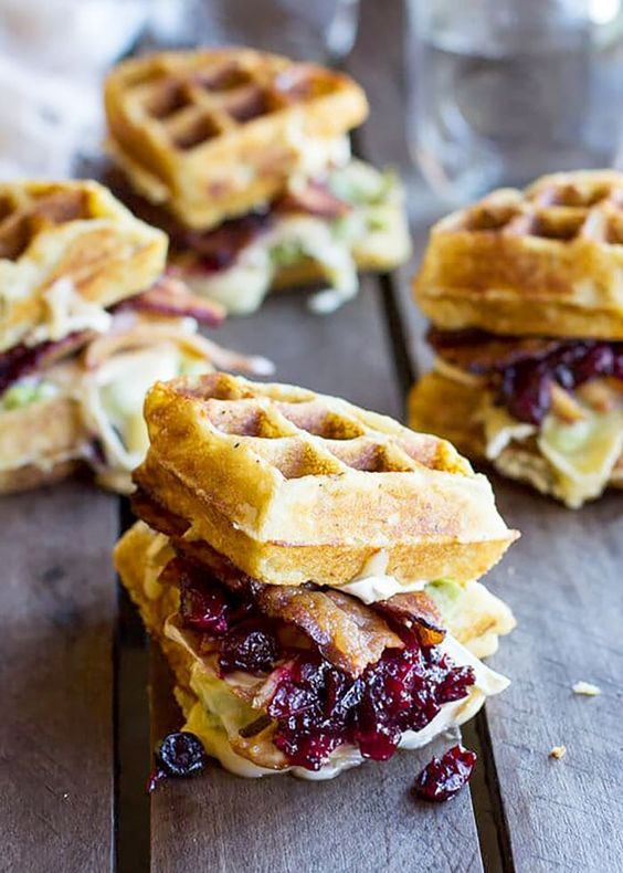Thanksgiving leftovers recipe | Turkey, Smashed Avocado, Cranberry, Brie and Mashed Potato Waffle Melts | Girlfriend is Better