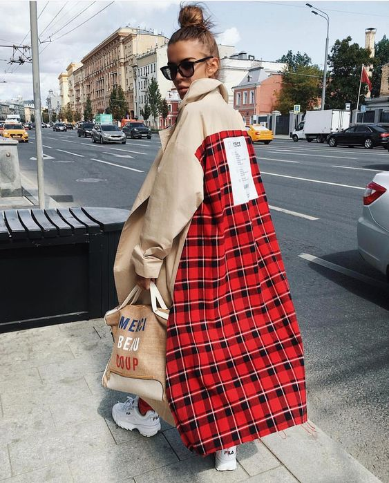 trench coats red plaid back panel | Girlfriend is Better