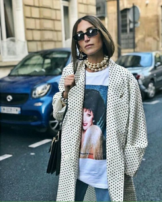 polka dot trench coats graphic tee pearls | Girlfriend is Better