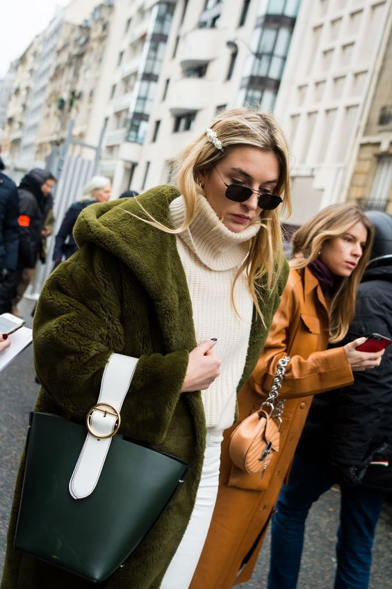 cream turtleneck sweater bucket bag green fur coat | Girlfriend is Better