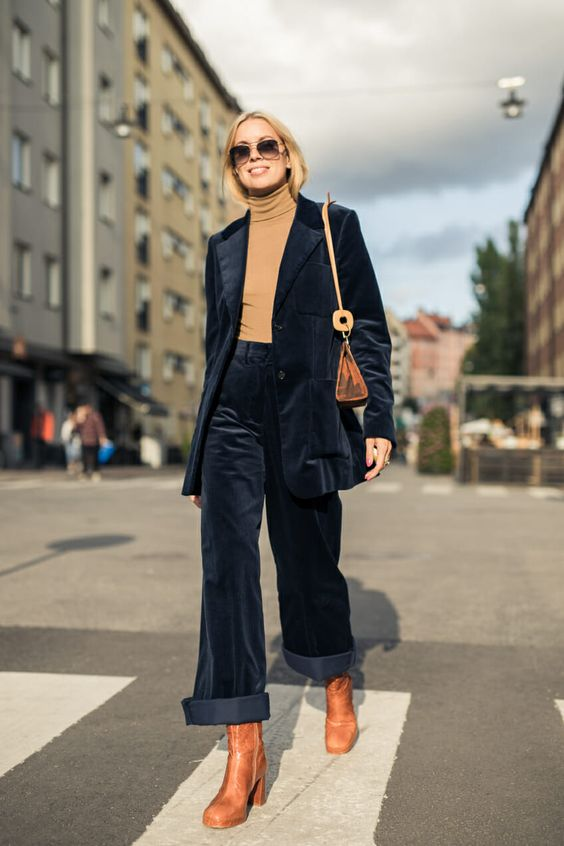brown turtleneck shirt velvet pant suit | Girlfriend is Better