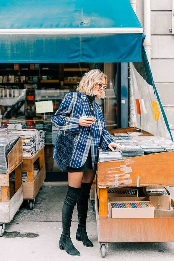 black turtleneck dress oversized blue plaid blazer | Girlfriend is Better