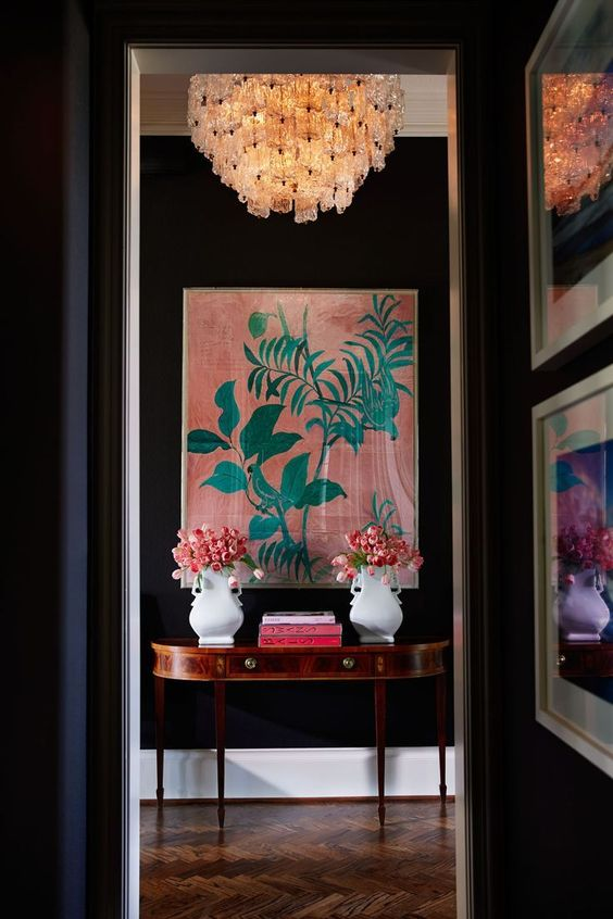 chinoiserie black walls chandelier | coral pink celadon Paule Marrot art work | Girlfriend is Better