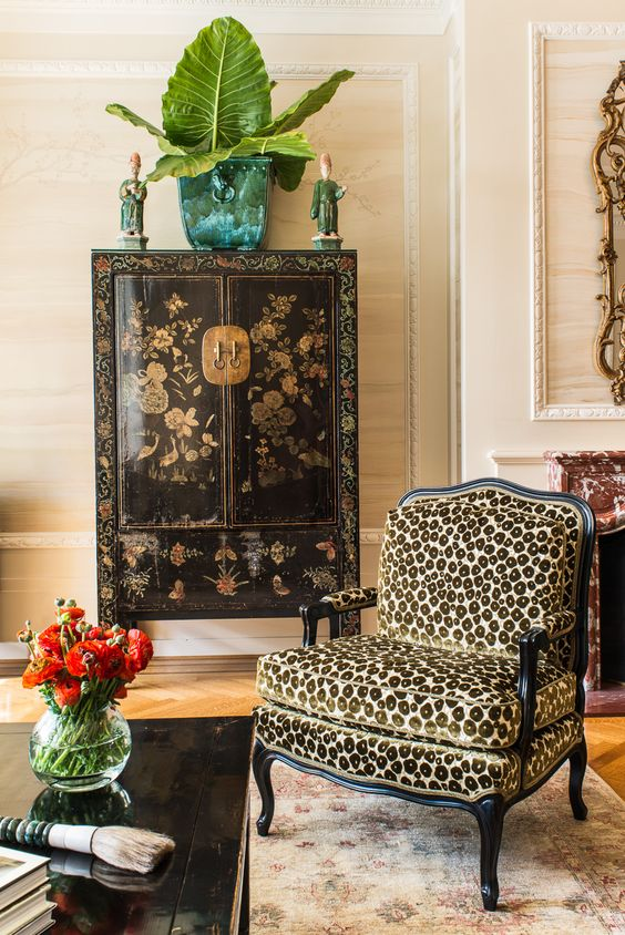 chinoiserie Chinese cabinet leopard print chair living room | Girlfriend is Better