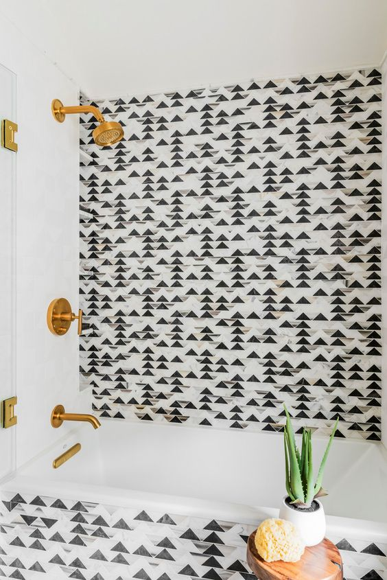 graphic tile | hipster black grey triangle pattern bathroom | Girlfriend is Better
