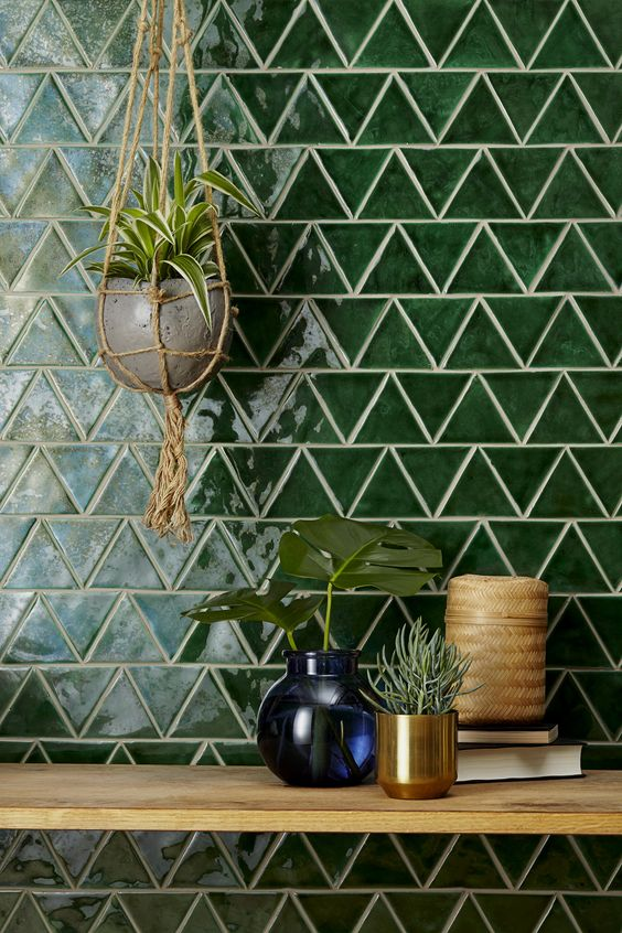 graphic tile | hand painted terracotta glazed green triangle kitchen backsplash | Girlfriend is Better
