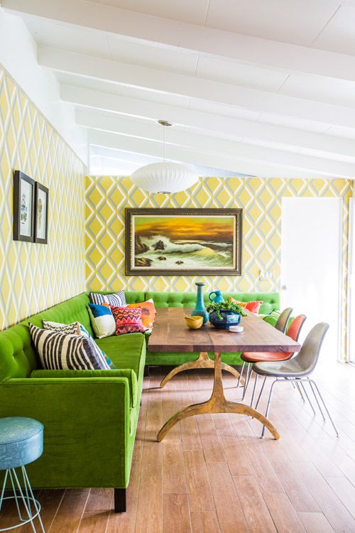 green sofas mid-century modern lime sectional dining room | Girlfriend is Better