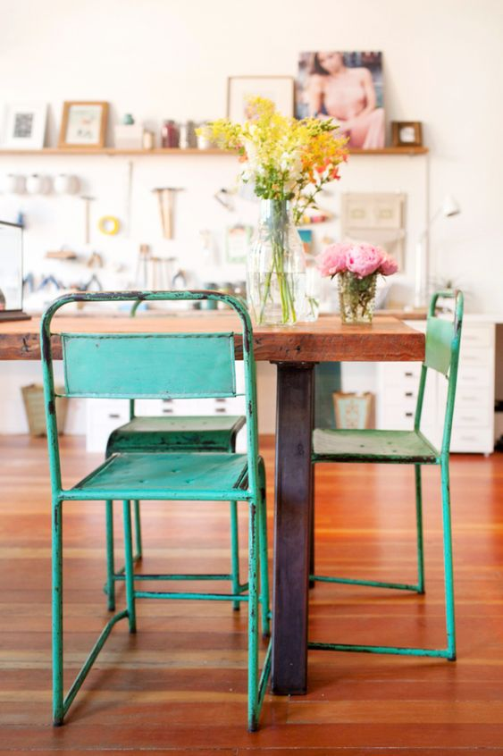 metal element Feng Shui | vintage green work studio chairs French country wood table flooring | Girlfriend is Better