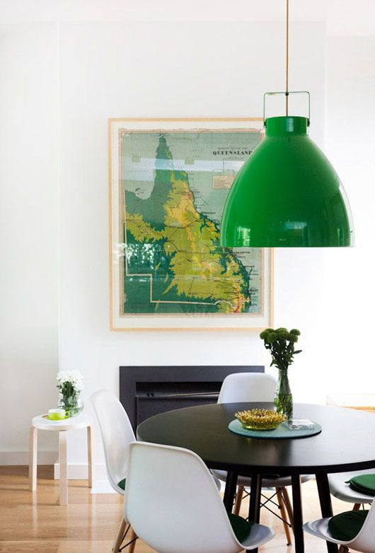 metal element Feng Shui | green mid-century modern Jielde lamp light white dining room chairs | Girlfriend is Better