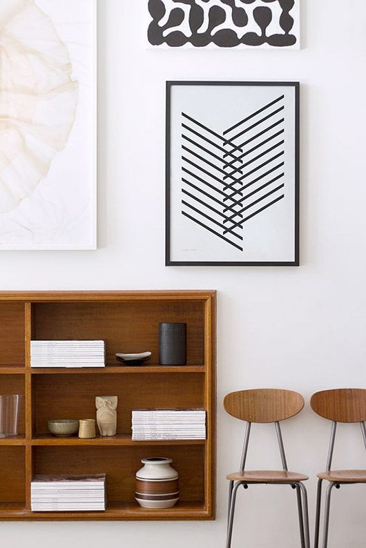 metal element Feng Shui | art print black lines vintage school chairs book shelf | Girlfriend is Better