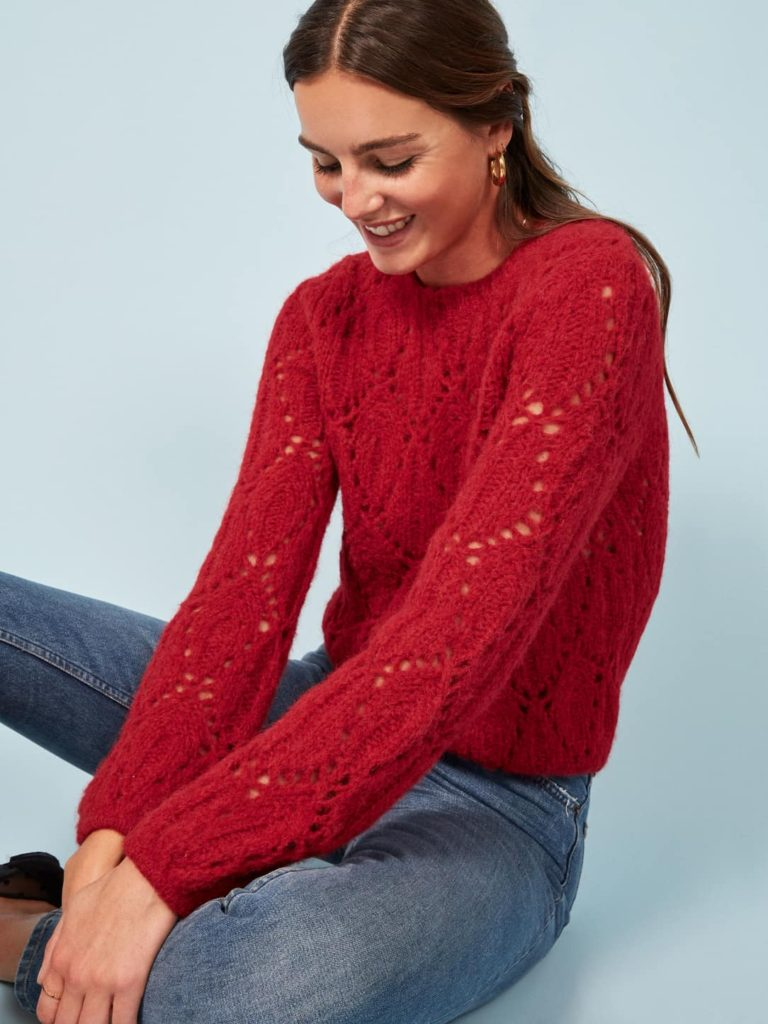 pretty Christmas sweater | cherry red open knit ethically sourced alpaca soft | Girlfriend is Better
