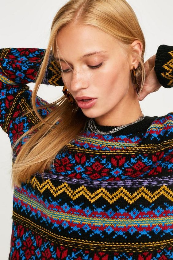 pretty Christmas sweater | Fair Isle pattern red blue gold | Girlfriend is Better