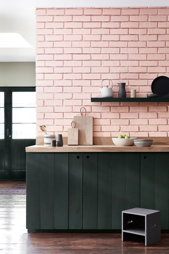 Pink Walls | Pink brick wall kitchen | Girlfriend is Better