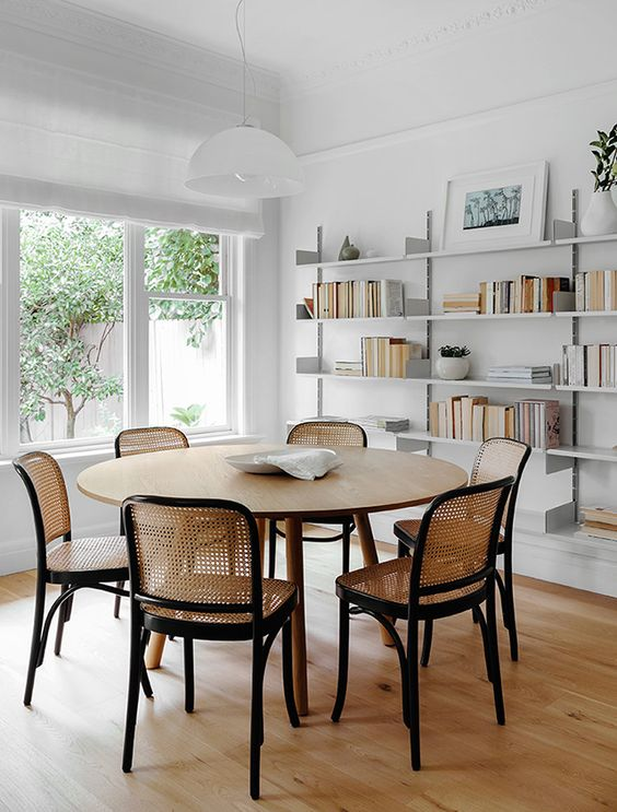 caned chairs | dining room chairs open shelving minimal decor | Girlfriend is Better