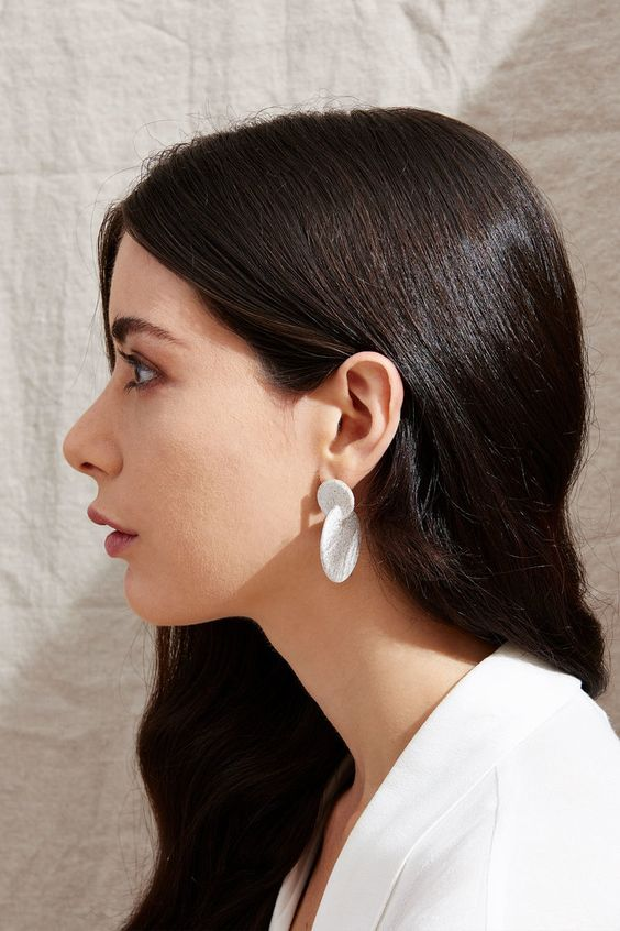 ceramic earrings | intersecting discs minimal fashion natural accessories | Girlfriend is Better