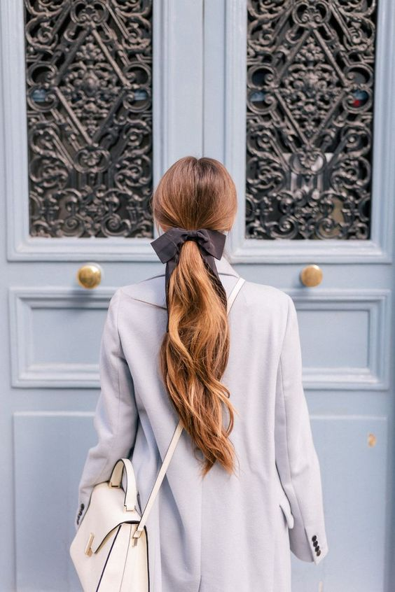 hair ribbons | Paris ponytail grey full-length coat | Girlfriend is Better