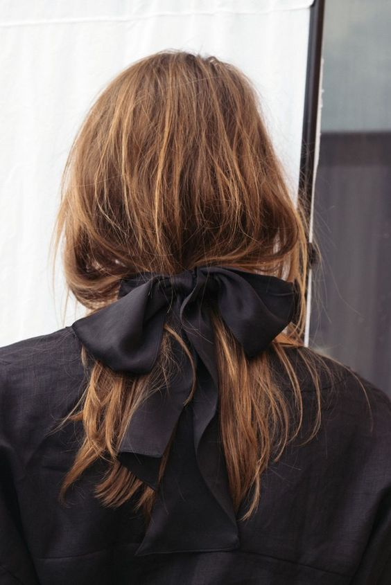 hair ribbons | black silk wide ribbon loose ponytail | Girlfriend is Better