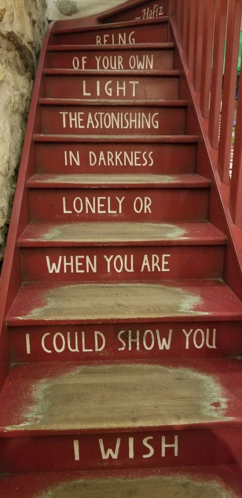 Paris Ground Zero | Shakespeare and Company bookstore red staircase poetry Hafiz | Girlfriend is Better