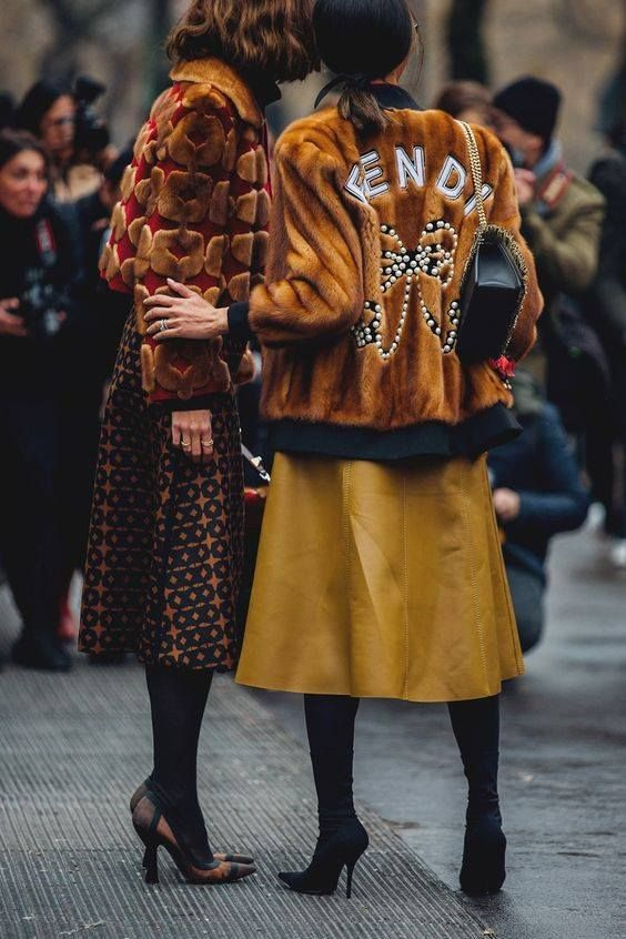 posh fur coats | Fendi tan cropped waist length colored tights midi skirt | Girlfriend is Better