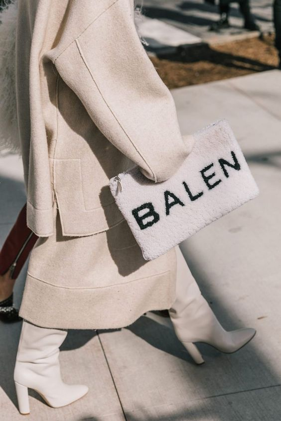 winter white outfits | Balen clutch boots neutrals full-length coat wool | Girlfriend is Better
