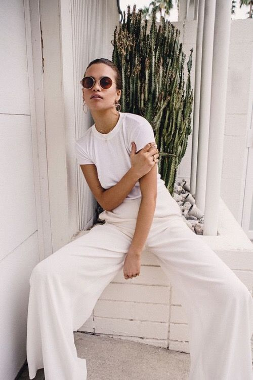 winter white outfits | all-white tee shirt flared high-waist pants | Girlfriend is Better