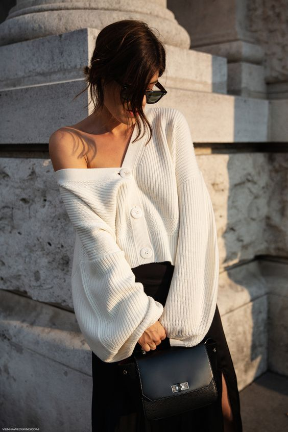 winter white outfits | trans seasonal dressing cardigan sweater top handle purse | Girlfriend is Better