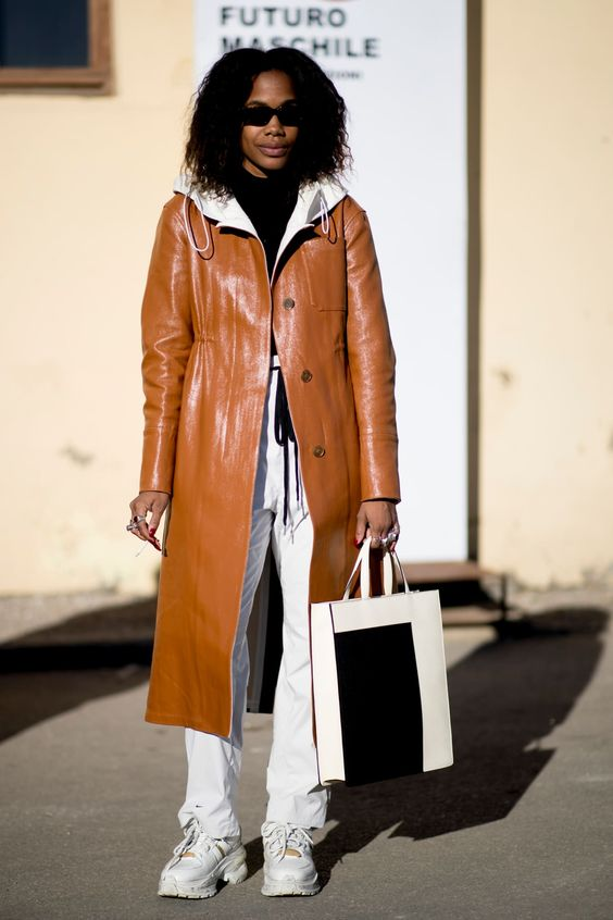 winter white outfits | leather camel full-length coat hoodie tennis shoes top handle bag | Girlfriend is Better