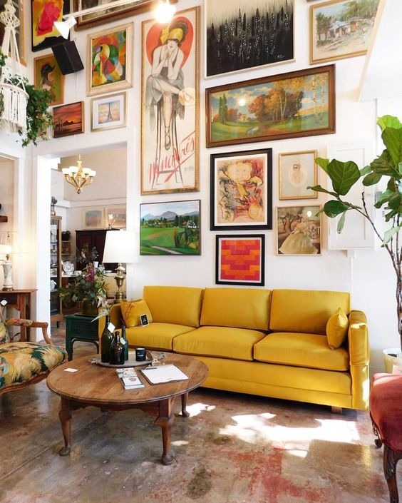 Gold Sofas | gallery wall Bohemian decor yellow vintage couch | Girlfriend is Better