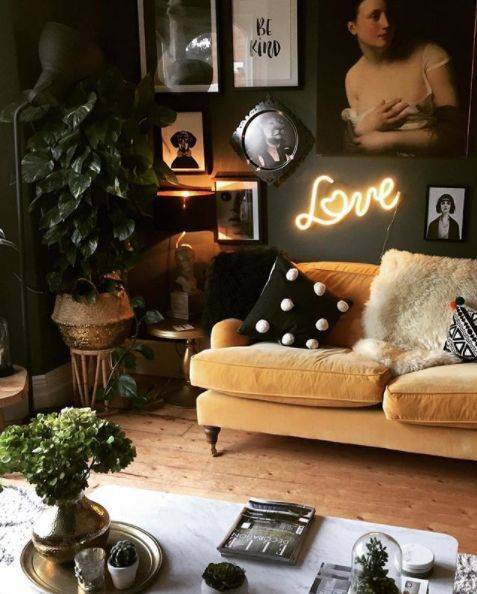 Gold Sofas | Maximalist decor Bohemian neon sign plants gallery wall | Girlfriend is Better