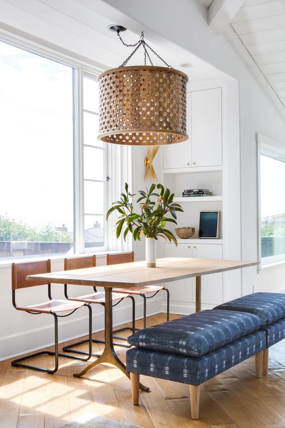 Breuer style chairs   white dining room blue bench wood element   Girlfriend is Better