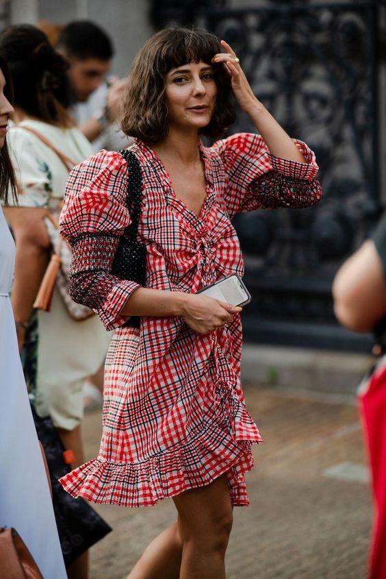 puff sleeves | plaid dress embroidered ruffles Spring street style | Girlfriend is Better