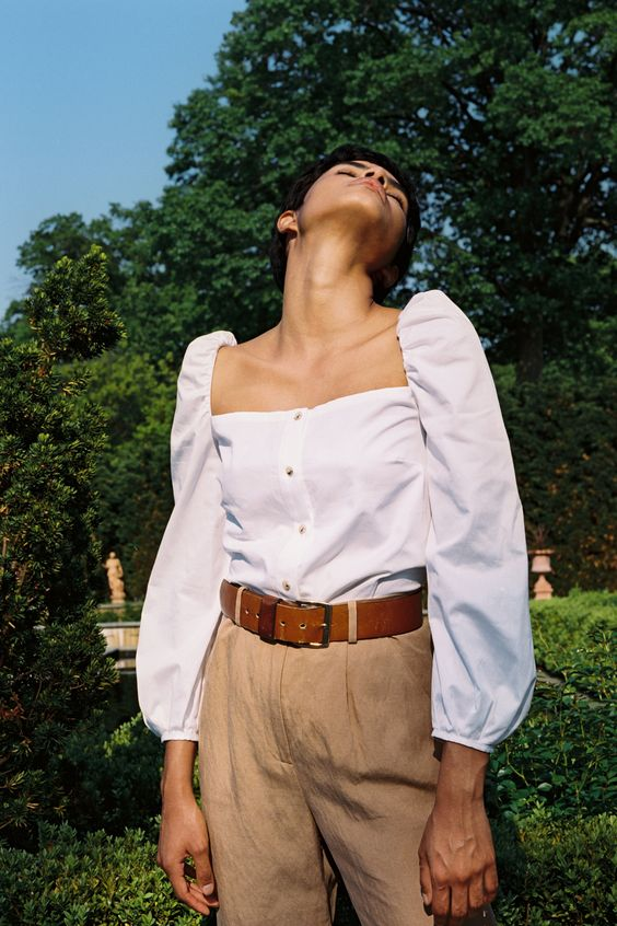 puff shoulders | white blouse button front neutral slacks work wear | Girlfriend is Better