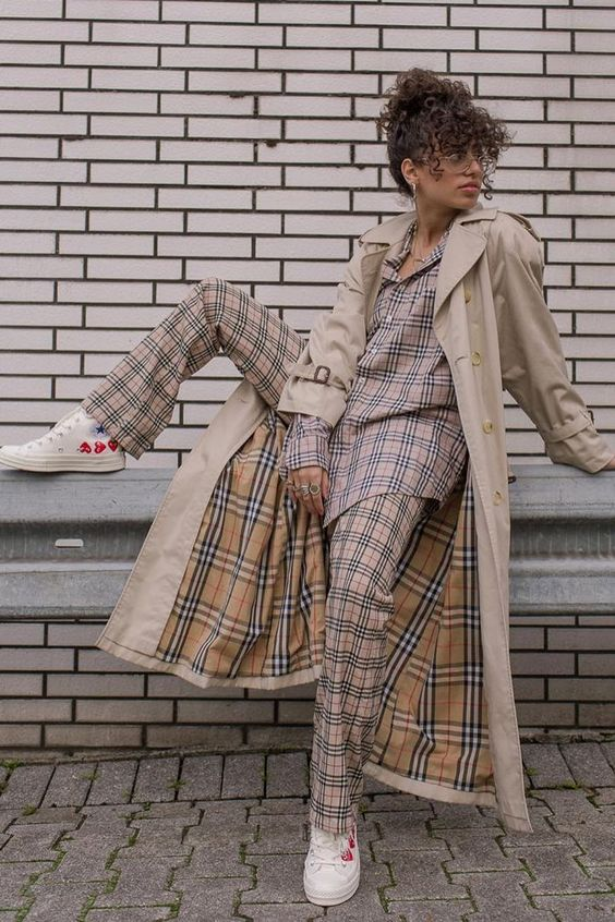 Valentine's Day street style outfits | plaid pants suit trench coat white Converse tennis shoes hearts | Girlfriend is Better