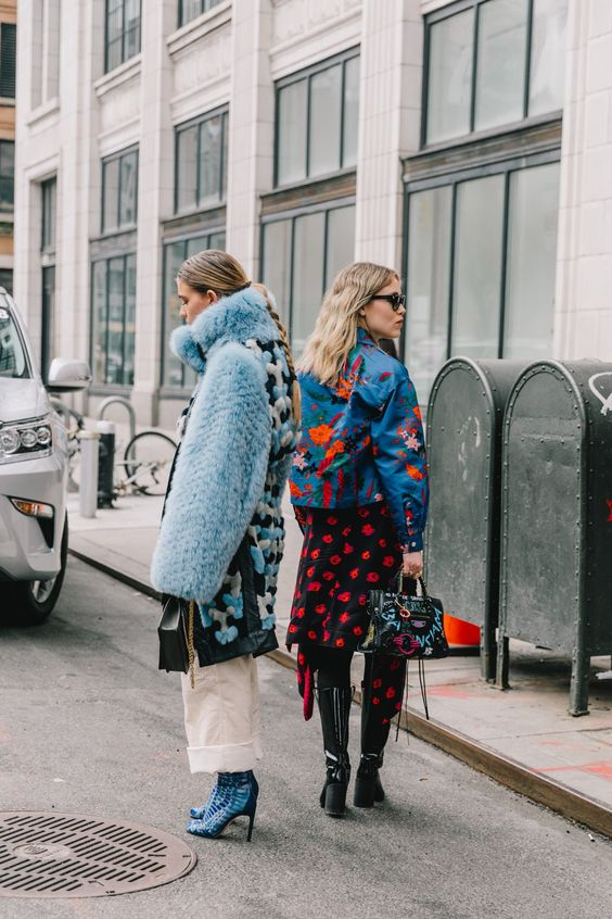 Valentine's Day street style outfits | faux fur coat white high-water pants rose floral spring dress embroidered denim jacket top handle purse | Girlfriend is Better