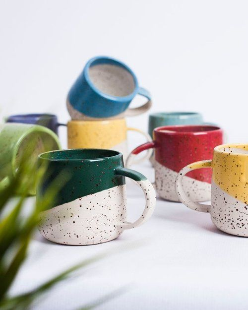 color blocking decor   speckled dipped coffee mugs ceramic handmade   Girlfriend is Better