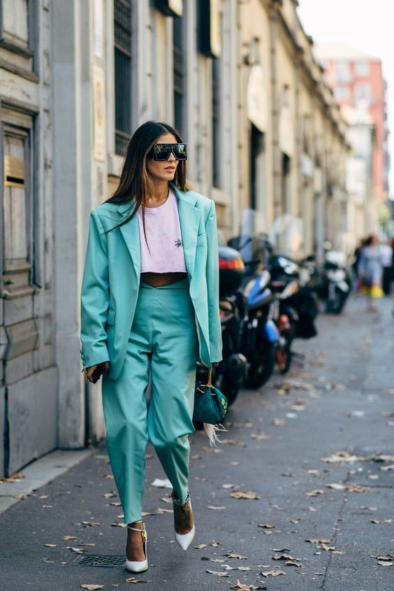 pant suits shield sunglasses teal double-breasted blazer oversized high-waist | Girlfriend is Better