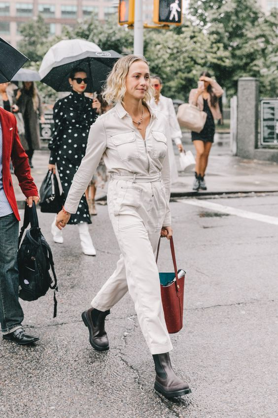 barrel jeans | all-white belted jumpsuit high-water denim | Girlfriend is Better
