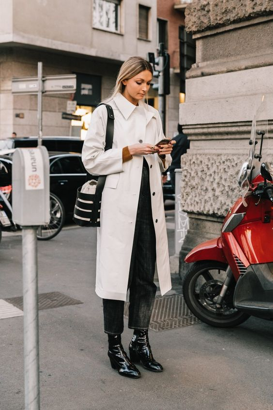 black barrel jeans | patent leather boots beige trench coat | Girlfriend is Better