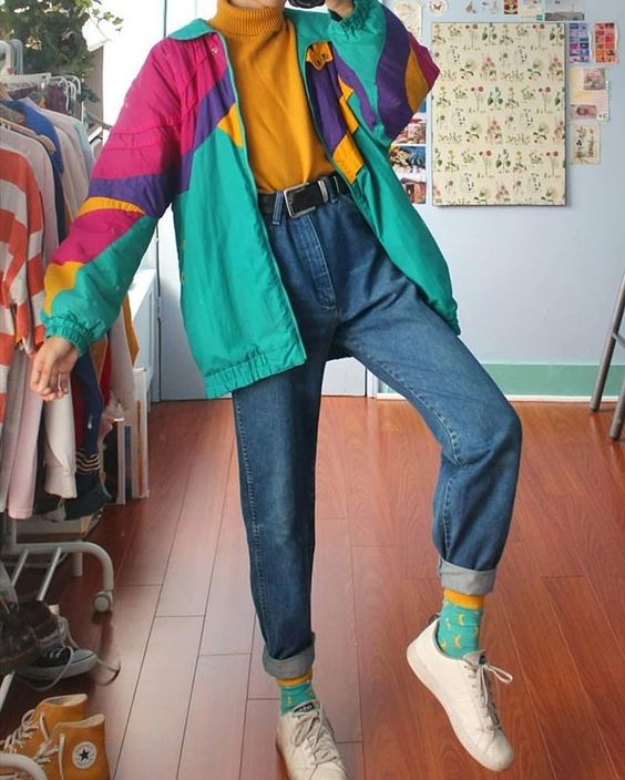 vintage windbreakers | teal yellow mid-length jacket barrel jeans | Girlfriend is Better