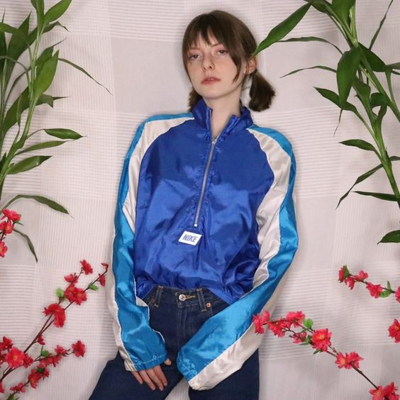 vintage windbreakers | 80s Nike half-zip blue cinched sleeves jacket | Girlfriend is Better