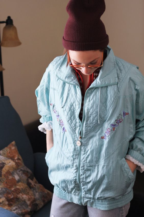 vintage windbreakers | 80s Wilson light blue embroidered flowers quilted cinched sleeves | Girlfriend is Better