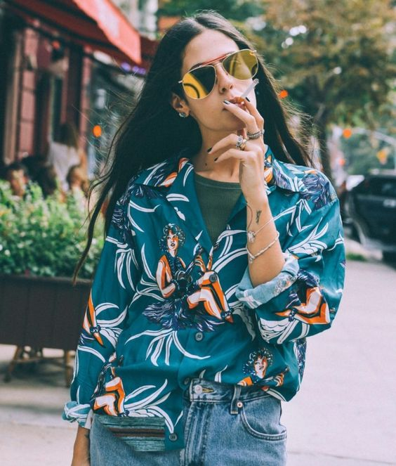 hawaiian shirts | long sleeve blouse teal barrel jeans | Girlfriend is Better