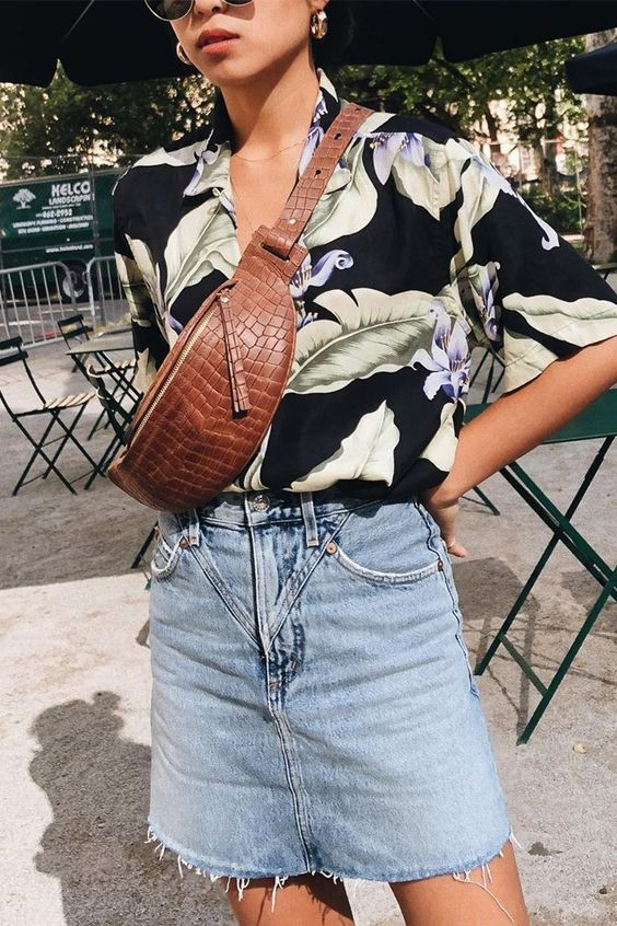 hawaiian shirts | Large Tropical Summer blouse floral denim fanny pack | Girlfriend is Better