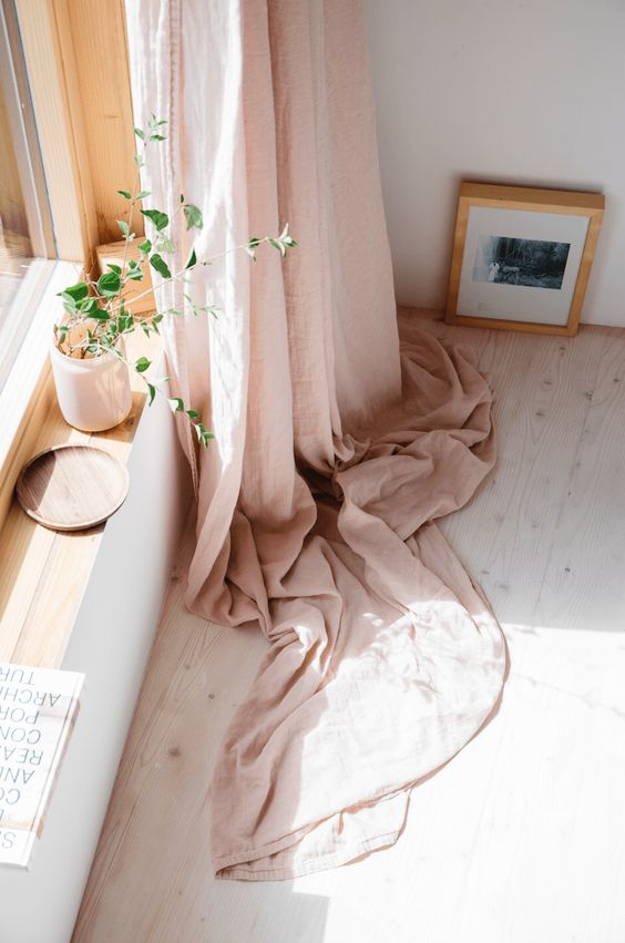 midsummer hygge | pink curtain plant windowsill natural decor bedroom | Girlfriend is Better