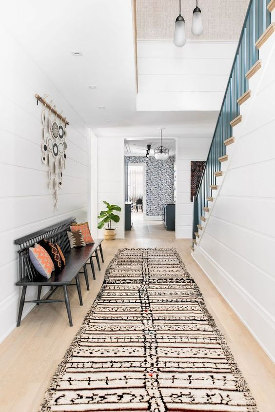 Southern Bohemian   area rug runner entryway bench macrame wall hanging fiddle leaf fig   Girlfriend is Better