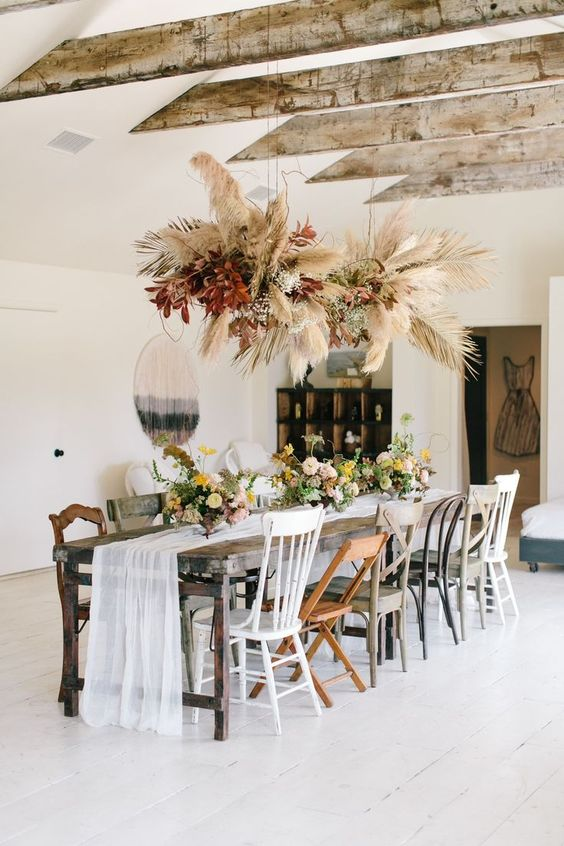 Southern Bohemian   dining table mixed chairs vintage macrame wall hanging   Girlfriend is Better