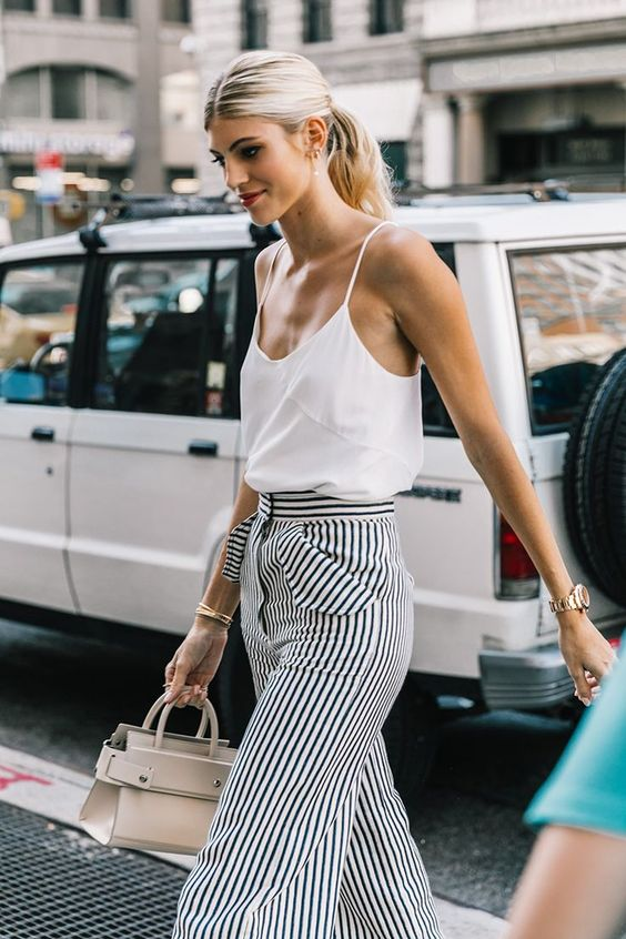 straight leg  pants | stripes work wear top handle purse tank top summer fashion high-waist | Girlfriend is Better