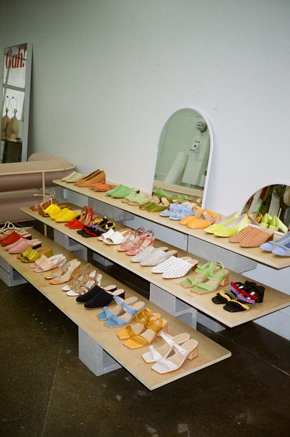 summer sandals | light wood shoe display | Girlfriend is Better