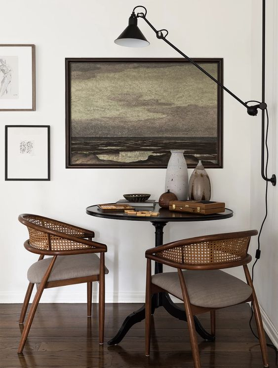 horseshoe chairs | nook kitchen pedestal table antiques caned back landscape art | Girlfriend is Better